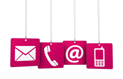 Web contact us Internet concept with email, mobile phone and at icon and symbol on four red hanged tags for website, blog and on line business.